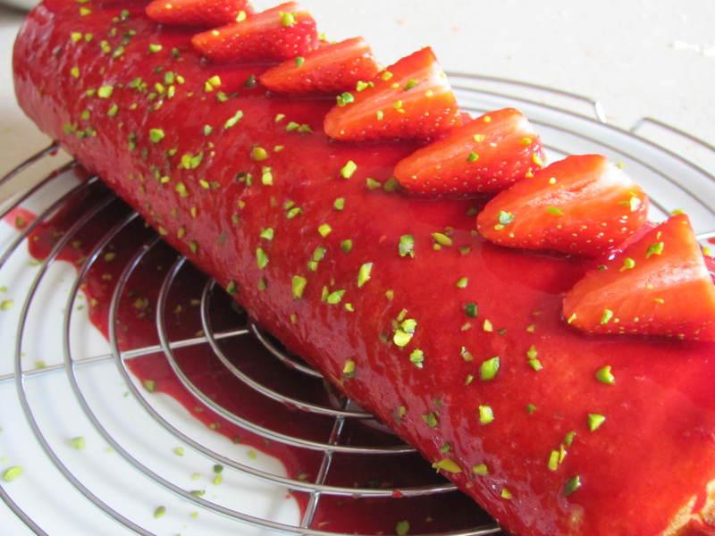 Gateau roule fraise mascarpone